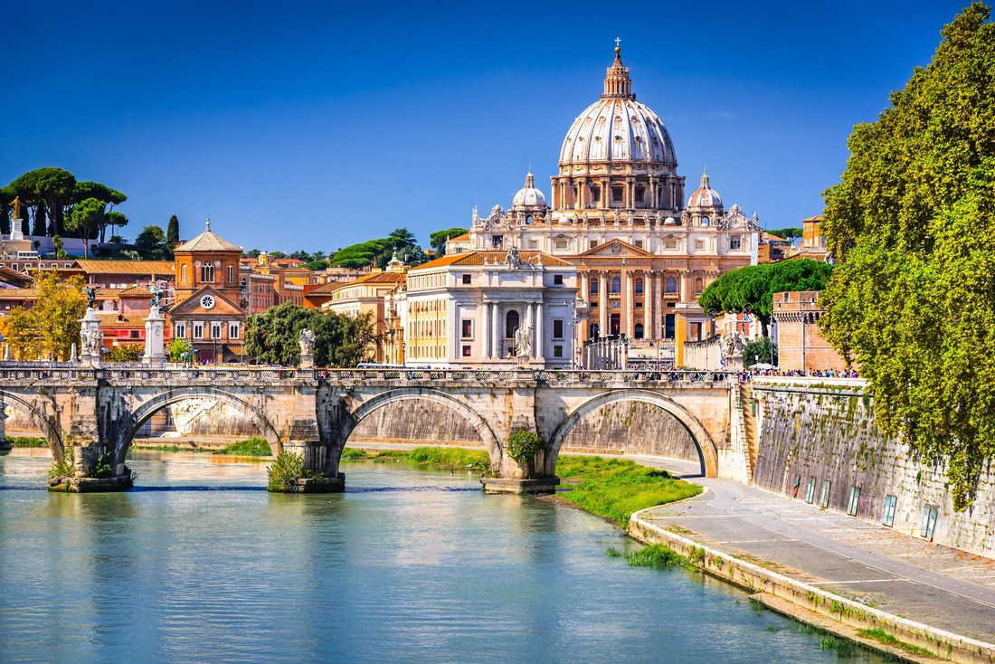 Rome, Italy. Vatican dome of Saint Peter Basilica